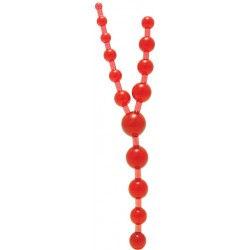 Анальная цепочка TRIPLE ANAL PLEASURE BEADS - CLEAR RED