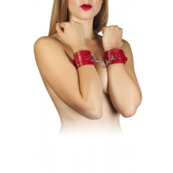 Наручники Leather Dominant Hand Cuffs, red