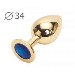 GOLDEN PLUG MEDIUM (втулка анальная), L 82 мм, D 34 мм, вес 90г, цвет кристалла синий