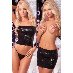Комплект Sequin tube top or skirt black M/L